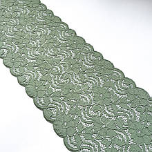 Стрейчевое (еластичне) мереживо оливкового кольору, з кордової ниткою, шириною 17,5 див.
