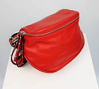 Поясная кожаная сумка бананка женская в стиле баленсиага красная Италия