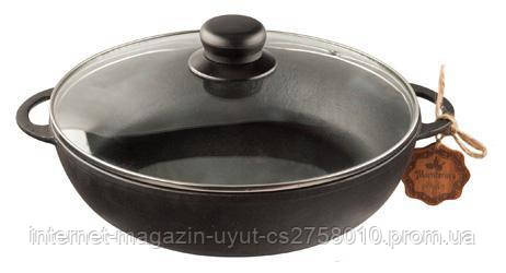"""Сковорода-жаровня чавунна """"Наша Майстерня"""" Ø26см зі скляною кришкою"""