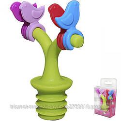 Стоппер (пробка) для бутылки Птички на Дереве силиконовая