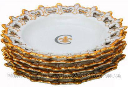 """Набор 6 десертных тарелок """"Золотая Лилия"""" Ø20см, фарфор"""