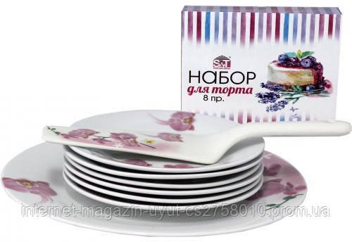 """Набір для торта """"Орхідея"""", блюдо Ø27см, 6 тарілок Ø18см і лопатка 27см (кераміка)"""