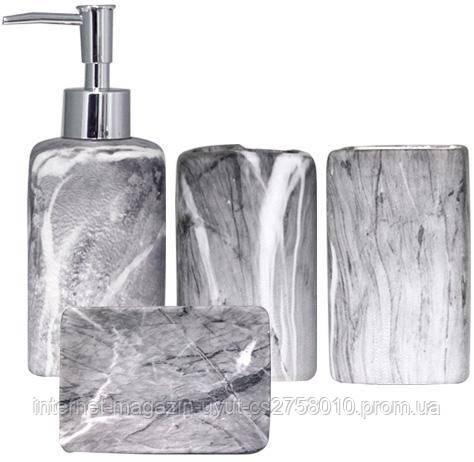"""Набор аксессуаров """"Гранит"""" для ванной комнаты 4 предмета, керамика - фото 1"""