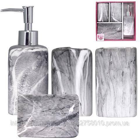 """Набор аксессуаров """"Гранит"""" для ванной комнаты 4 предмета, керамика - фото 2"""