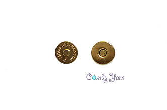 Кнопка магнитная зажим, 14мм золото
