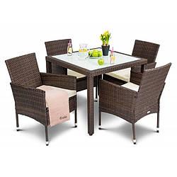 Садовая мебель плетенная VERONA 4+1 Brown мебель из искусственного ротанга для дома, сада, кафе и ресторанов