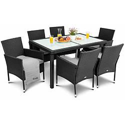 Садовая мебель плетенная VERONA 6+1 черная мебель из искусственного ротанга для дома, сада, кафе и ресторанов