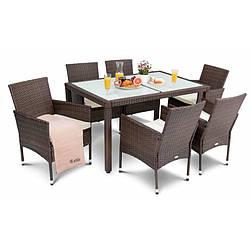Садовая мебель плетенная VERONA 6+1 Brown мебель из искусственного ротанга для дома, сада, кафе и ресторанов