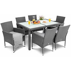 Садовая мебель плетенная VERONA 6+1 Grey мебель из искусственного ротанга для дома, сада, кафе и ресторанов