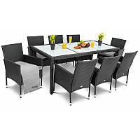 Садовая мебель плетенная VERONA 8+1 черная мебель из искусственного ротанга для дома, сада, кафе и ресторанов