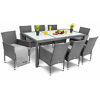 Садовая мебель плетенная VERONA 8+1 Grey мебель из искусственного ротанга для дома, сада, кафе и ресторанов