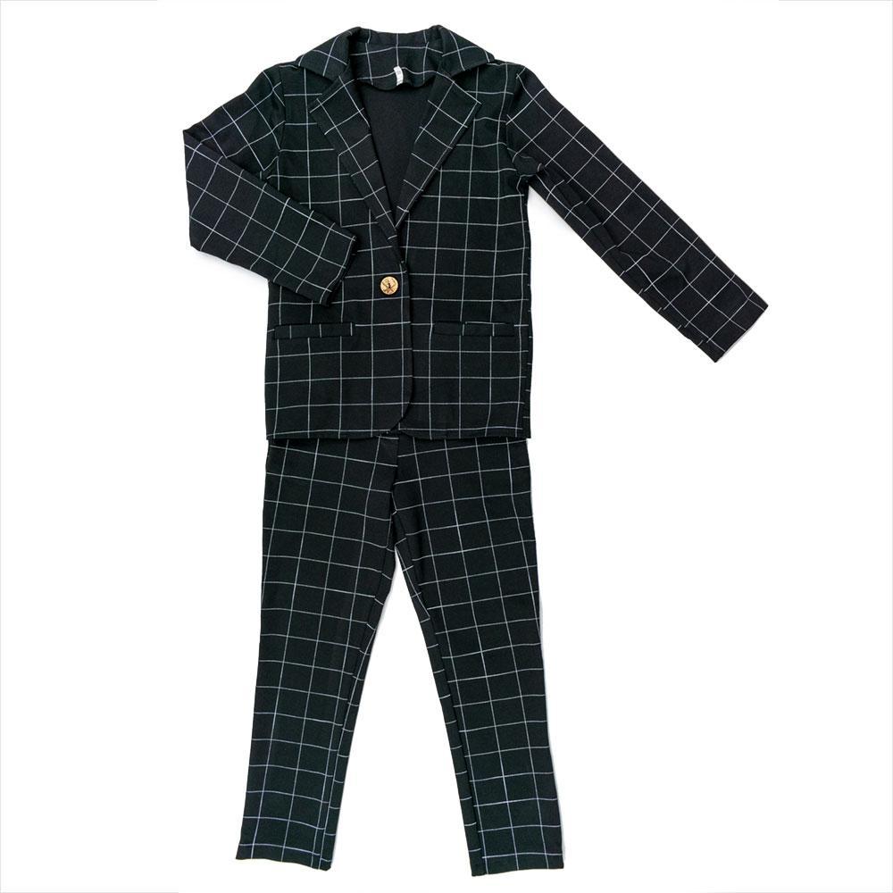 Костюм (жакет, брюки) для девочек Mikrus 134  чёрный 981114