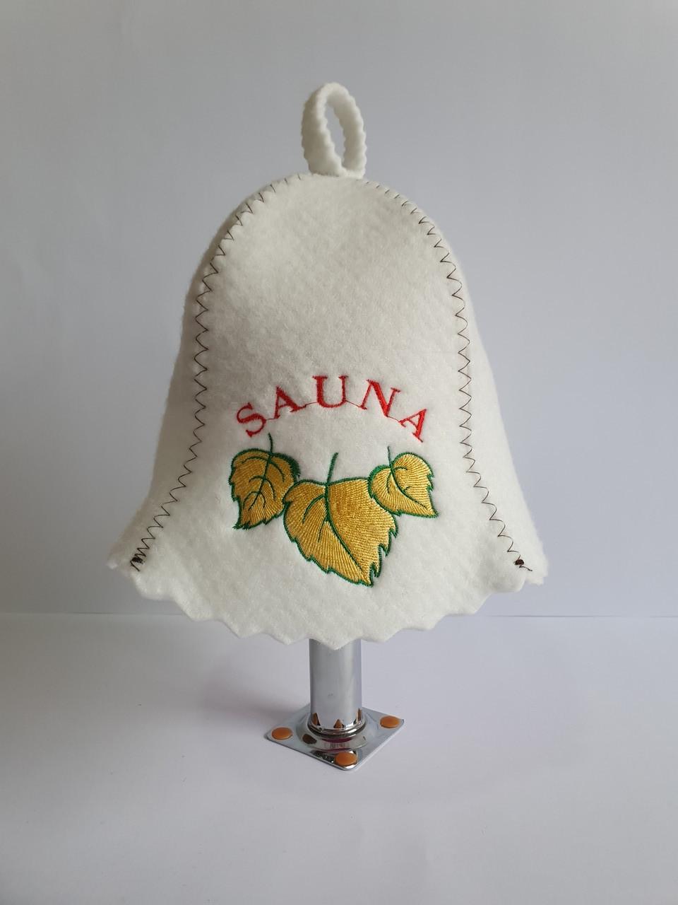 Шапка для бані та сауни з яскравою вишивкою Sauna жовте листя