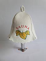 Шапка для бані та сауни з яскравою вишивкою Sauna жовте листя, фото 1