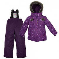Зимний детский термокомплект X-Trem by Gusti, фиолетовый с меховой опушкой, размеры 92, 98, 122