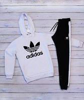 Мужской спортивный костюм Adidas(адидас) бело-черного цвета
