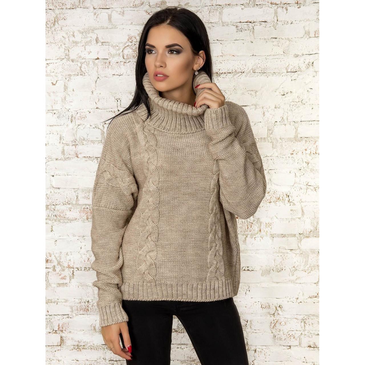 Теплий вільний жіночий светр під горло кольори в асортименті, універсальний розмір 44-48