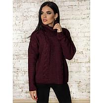 Теплий вільний жіночий светр під горло кольори в асортименті, універсальний розмір 44-48, фото 3