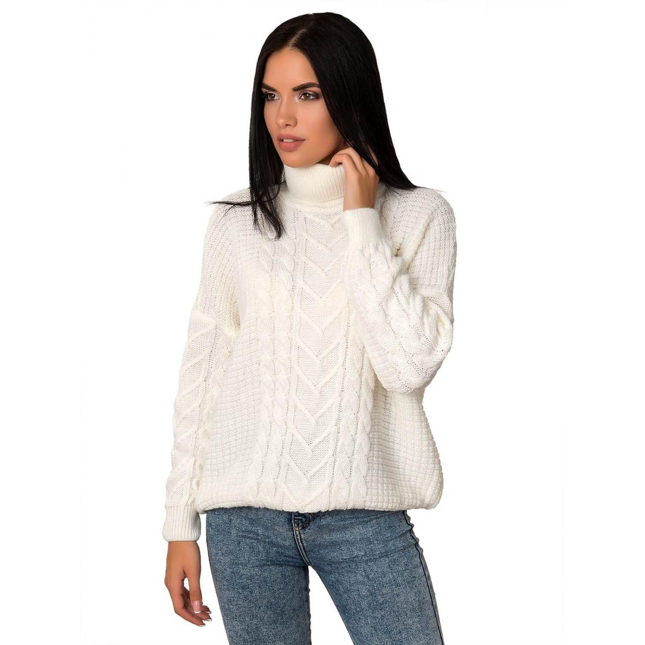 Білий жіночий светр під горло стійка розмір від 44 до 48