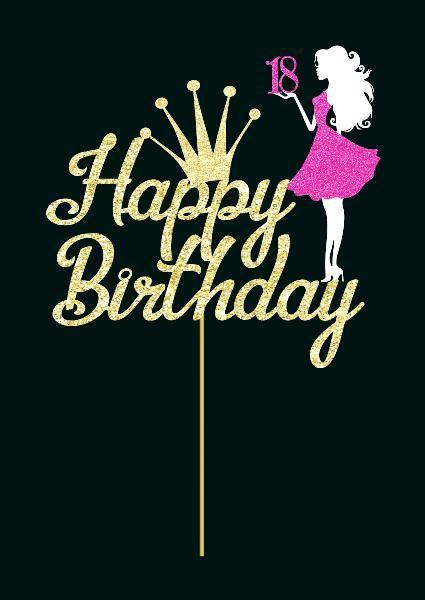 Топпер специальный Happy birthday с цифрой |  | Топперы для девочек | Топперы с Днем рождения с короной