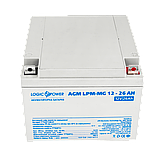 Аккумулятор мультигелевый AGM LogicPower LPM-MG 12 - 26 AH, фото 2