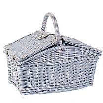 Корзина для природы на 4 персоны с термо сумкой, цвет серый (0503-002), фото 2