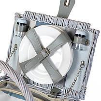 Корзина для природы на 4 персоны с термо сумкой, цвет серый (0503-002), фото 3