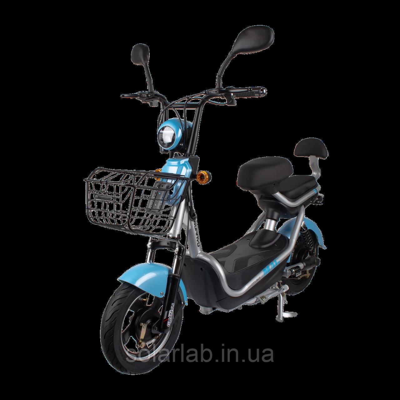 Электрический мопед  CITY gy-4 350W/48V/20AH(DZM) (серо-голубой)