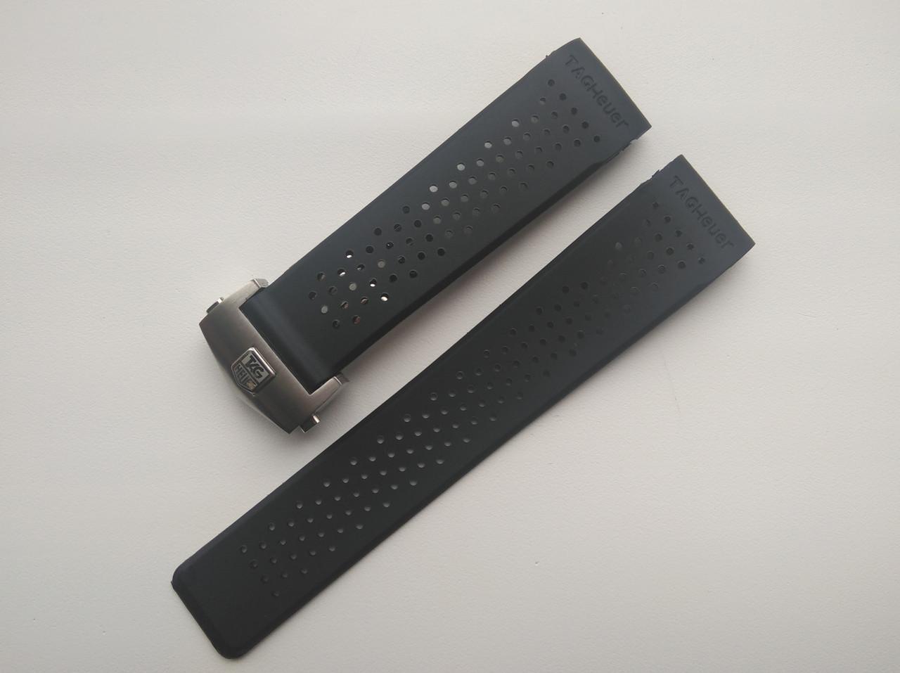Каучуковый ремешок для часов, заокругленное окончание. Серебристая застежка. 24 мм
