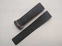 Каучуковый ремешок для часов, заокругленное окончание. Серебристая застежка. 24 мм, фото 1