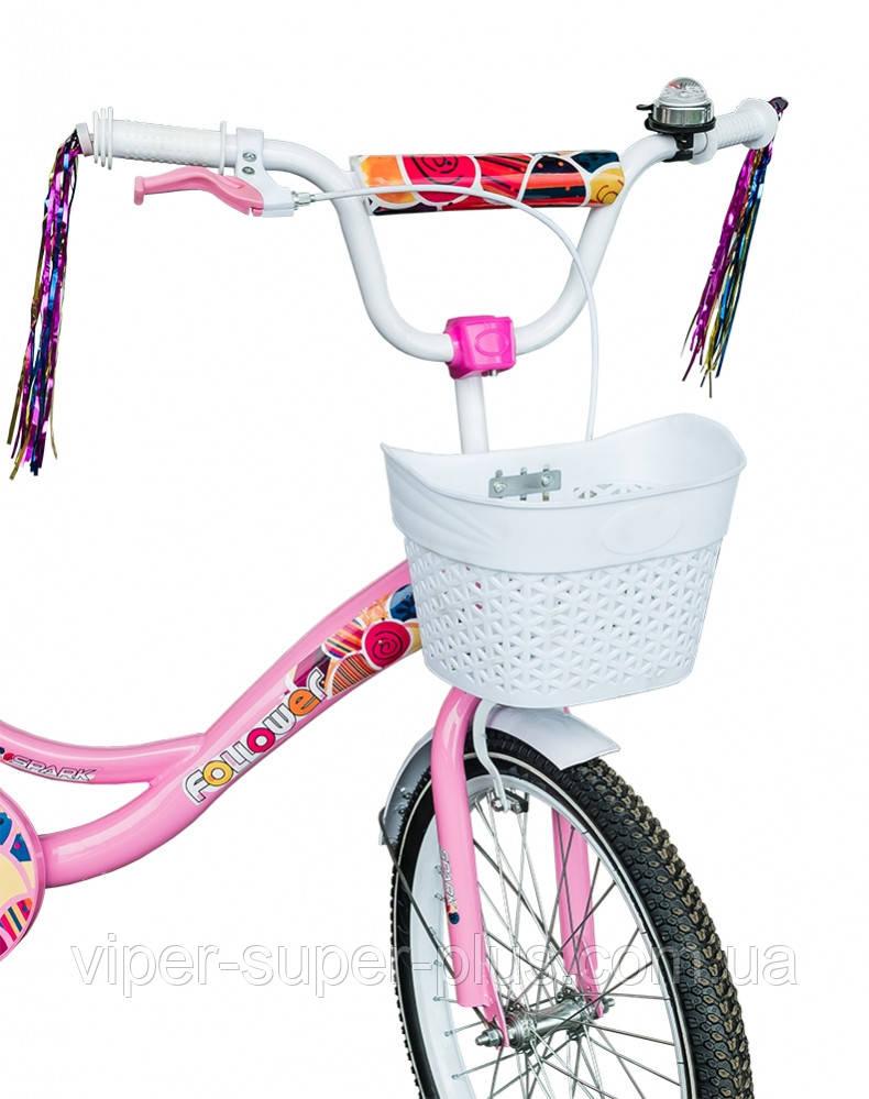 🔥✅  Велосипед Детский SPARK KIDS FOLLOWER TV1401-003 14 дюйм Розовый с Белым. Рама - Сталь!