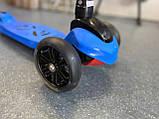 Дитячий триколісний самокат складаний Scooter 1818 зі світними колесами, Синій, фото 6