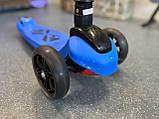 Дитячий триколісний самокат складаний Scooter 1818 зі світними колесами, Синій, фото 8