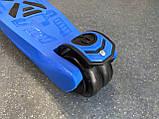 Дитячий триколісний самокат складаний Scooter 1818 зі світними колесами, Синій, фото 4
