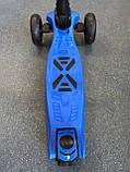 Дитячий триколісний самокат складаний Scooter 1818 зі світними колесами, Синій, фото 3