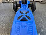 Дитячий триколісний самокат складаний Scooter 1818 зі світними колесами, Синій, фото 5