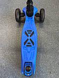 Дитячий триколісний самокат складаний Scooter 1818 зі світними колесами, Синій, фото 7