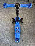 Дитячий триколісний самокат складаний Scooter 1818 зі світними колесами, Синій, фото 9