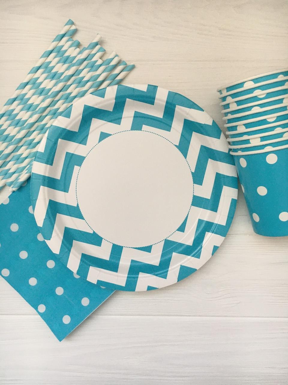 "Набор бумажной посуды - тарелочки, стаканчики,салфетки и трубочки ""Blue&White"" на 10 персон"