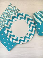 """Набір паперової посуду - тарілочки, стаканчики,серветки і трубочки """"Blue&White"""" на 10 персон"""