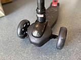 Детский трехколесный самокат складной Scooter 1818 со светящимися колесами, Черный, фото 3