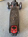 Детский трехколесный самокат складной Scooter 1818 со светящимися колесами, Черный, фото 2