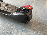Детский трехколесный самокат складной Scooter 1818 со светящимися колесами, Черный, фото 5