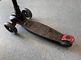 Детский трехколесный самокат складной Scooter 1818 со светящимися колесами, Черный, фото 4