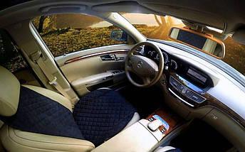 Накидка чехол на сидения автомобиля из Алькантары Эко-замша один универсальный защитный авточехол Черная 1 шт, фото 2