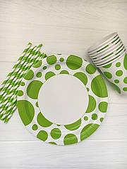 """Набор бумажной посуды - тарелочки, стаканчики и трубочки """"Green dots"""""""