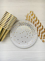 """Набір паперової посуду - тарілочки, стаканчики і трубочки """"White confetti"""""""