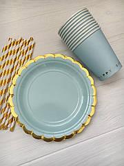 """Набор бумажной посуды - тарелочки, стаканчики и трубочки """"Blue Gold """""""