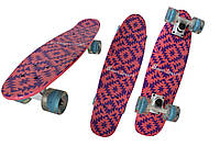 Скейт Penny Board, с широкими светящимися колесами Пенни борд, детский , от 4 лет, Розовый