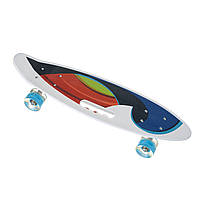Скейт Penny Board, с широкими светящимися колесами и ручкой, Пенни борд, детский ,от 5 лет, Абстракция